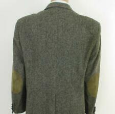 44 R CC Courtney Gray Brown Tweed Wool Leather Mens Jacket Sport Coat Blazer