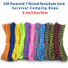 550 Paracord Survival Rope 7 Inner Strands Hiking Camping Bushcraft 3.1/15/31m