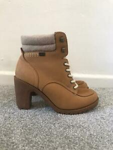 Kickers Boots Size 3 Beige Leather Lace Up High Heel Ankle Boots EU 36