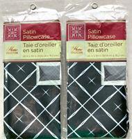 """2 Silky Satin Pillowcase Black & White Home Collection Standard/Queen 20""""x30"""""""
