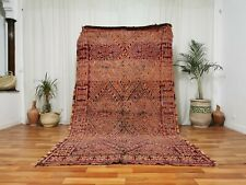 "Antique Handmade Moroccan Wool Rug 5'5""x9' Purple Berber Boujaad Tribe Area Rug"