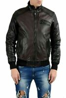 Just Cavalli Men's 100% Leather Two Tones Full Zip Jacket US S IT 48