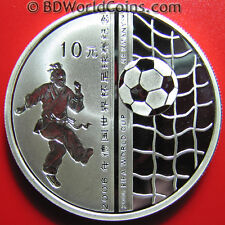 2005 CHINA 10 YUAN 1oz SILVER 2006 GERMANY SOCCER FIFA WORLD CUP COLORED COIN RR