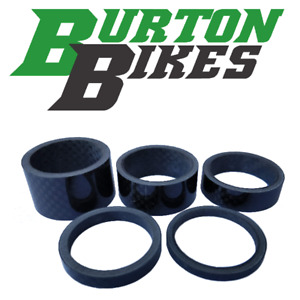 "Set of 5 Carbon Fibre headset spacers, 1 1/8"", 20/15/10/5/3mm"