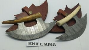 Custom hand made Knife King's Damascus Steel ULU knife Pair with Stag/Antler