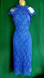 New MONSOON Uk 14 18 Blue ADELINE Lace Evening Cocktail Party Shift Midi Dress