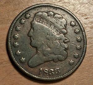 1833 Classic Head Half Cent 1/2 Copper Coin Nice Condition Fine F Key Date PQ+