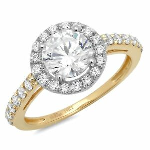 2.4ct Round Cut Halo Classic Solitaire Engagement Promise Ring 14k Two-Tone Gold
