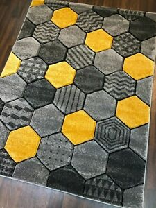 Rugs Approx 6x4ft 120cmx160CM Carved Rug Top Quality Grey Yellow New Designs Mat