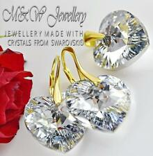 Gold Plated 925 Silver Earrings/Pendant Set HEART 18mm Crystals From Swarovski®