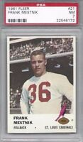 1961 Fleer football card #21 Frank Mestnik St. Louis Cardinals PSA 7 Marquette U