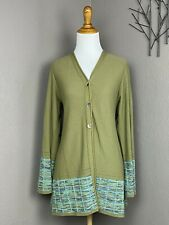 Catherine Andre France Art To Wear Olive Green Button Up Long Knit Cardigan M