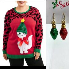 Holiday Time Slouchy Hat Cat Christmas Sweater Adult Ladies 2x 20/22