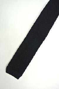 Solid Navy Wool Skinny Slim Trunk Tie