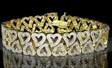 Double Heart Lady's Tennis Bracelet Gold Tone Round Cut CZ Luxury Bling 7.5""