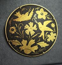 Vintage Damascene Birds Flowers Large Brooch Pin