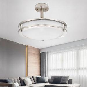 Semi Flush Mount Pendant Chandelier LED Ceiling Lighting Fixture Brushed Nickel