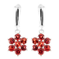 100% NATURAL GARNET NATURAL BLOOD RED GEMSTONE AAA+ STERLING SILVER 925 EARRING