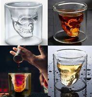 2 PC SET CLEAR DOUBLE INSULATED 3D SKULL SHAPED WINE,LIQUOR,SHOT GLASS  2.5 OZ