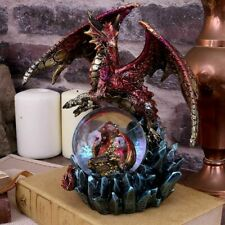 Red Mother and Baby Dragon Figurine Snowglobe Statue Ornament Sculpture 18cm