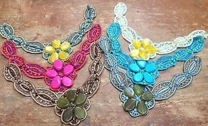 """Mosaic Beaded Collar 13"""" Embroidered Scallop Flower Hand Sewn Sequins 1pc"""