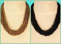 "Set of 2 18"" Gold Black Multi Strand Handmade Seed Bead Statement Necklace"