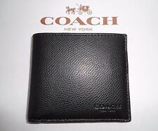 NWT Coach F75206 Double Billfold In Crossgran Leather Lined Wallet Black $150