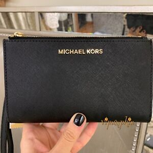 Michael Kors Jet Set Travel Double Zip Leather Wallet Phone Wristlet Black