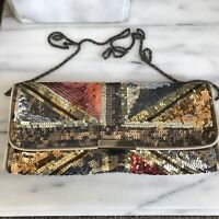 Accessorize Sequins Handbag Beige Terracotta & Brown With Bronze Chain Good Con
