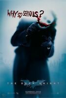 DARK KNIGHT MOVIE POSTER Double Sided 'WHY SO SERIOUS?' Advance Style 27x40 READ