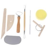 8pcs Pottery Clay Tool Set Pottery Ceramics Molding Tools Wood Sponge Tool-P`JCA