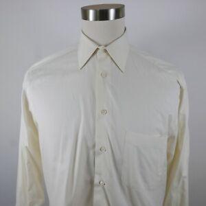 Ermenegildo Zegna Mens Cotton LS Button Up Solid Ivory White Dress Shirt 15.5
