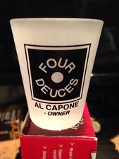 Frosted Shot Glass FOUR DUCES(CAPONE'S DINNER SHOW GIFT ORLANDO}Al Capone-Owner