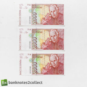 SPAIN: 3 x 2,000 Spanish Peseta Banknotes with Consecutive Serial Numbers.