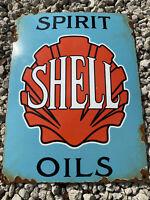VINTAGE SHELL GASOLINE PORCELAIN SIGN SPIRIT OIL GAS STATION AMERICAN LUBE RARE
