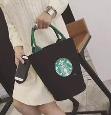 Starbucks Style Canvas Tote Handbag Barrel Shape Shoulder Bag Mommy Shopping