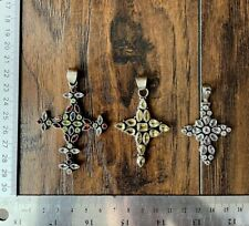 Old Silver Christian Cross crucifix & Precious Stone Jesus Christ Locket Pendant