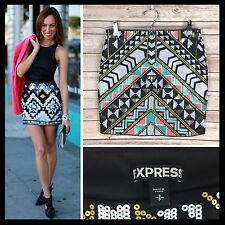 Express $60 Aztec Sequin Embellished Black Stretchy Bodycon Mini Skirt - Small