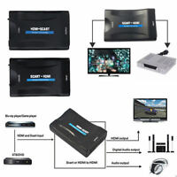 1080P Scart To HDMI Scaler Converter Audio Video Adapter for DVD STB +USB Cable