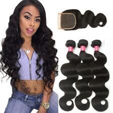 8A Malaysian Hair 3 Bundles with Closure Body Wave Human Hair Lace Closure