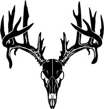 "Deer Buck Skull Antlers Hunting Sportsman Decal Sticker- 6"" Tall White Color"