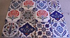 "Defective Set of 12 8""x8"" Turkish Iznik Pattern Ceramic Tile Hot Plate Trivet"