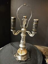 Vintage Art Deco Bouillotte Lamp Chrome & Slag Glass