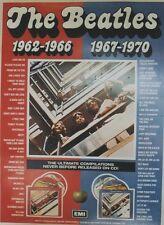 """""""THE BEATLES 1962-1966 / 1967-1970"""" Affiche originale entoilée EMI 1987 64x87cm"""