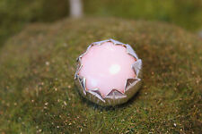 Sterling Silver 925 Hand Crafted Pink Peruvian Opal Cabochon Pendant Flower