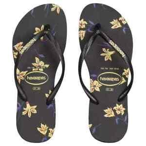 Slim Floral Havaianas Thongs Flip Flops, Size 7 - 8. (37-38). RRP $49.99. NWT.
