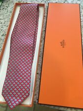Hermes Silk Tie - Red with Pattern - Never used with box