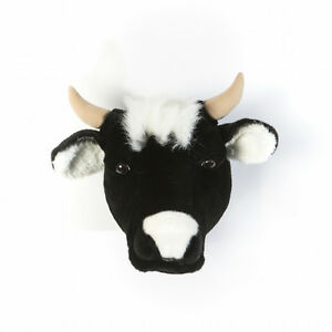 CHILDRENS WALL HANGINGS -  TROPHY ANIMAL HEADS - DAISY THE COW BY WILD & SOFT