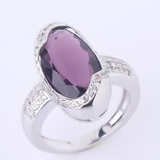 18k white gold filled Infinity Purple sapphire crystal retro style  ring SzM-T