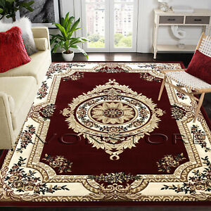 LUXURY TRADITIONAL RUG THICK SOFT WOOL LOOK RED AREA RUGS RUNNER NON SLIP RUG